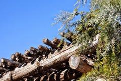 有常青分支和蓝天的土气木荫径屋顶 免版税库存图片