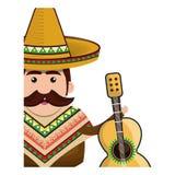 有帽子和声学吉他的半身体人墨西哥人 免版税库存照片