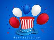有帽子和气球的美国人美国独立日在旗子颜色 免版税库存照片