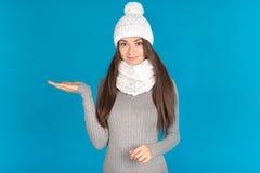 有帽子和围巾的美丽的少妇 库存照片