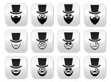 有帽子的人有被设置的胡子和玻璃按钮的 免版税库存照片
