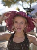 有帽子的十几岁的女孩 库存照片