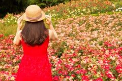 有帽子的女孩在玫瑰园里 免版税库存图片