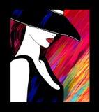 有帽子的妇女在五颜六色的背景 库存图片