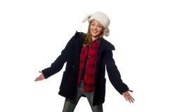 有帽子的妇女在滑稽的概念 库存照片
