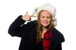 有帽子的妇女在滑稽的概念 图库摄影