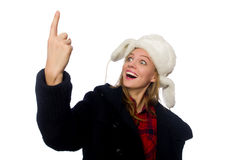 有帽子的妇女在滑稽的概念 免版税库存照片
