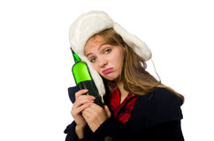 有帽子的妇女在滑稽的概念 免版税图库摄影