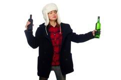 有帽子的妇女在滑稽的概念 免版税库存图片