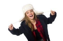有帽子的妇女在滑稽的概念 库存图片
