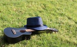 有帽子的尤克里里琴在绿草 免版税库存图片