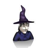 有帽子的巫婆在白色背景 免版税库存图片