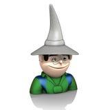 有帽子的巫术师在白色背景 免版税图库摄影