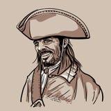 有帽子的海盗 画象 数字式剪影手图画传染媒介 向量例证