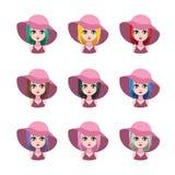 有帽子的- 9种不同头发颜色端庄的妇女 库存图片
