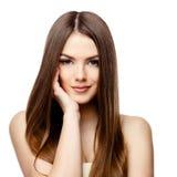 有干净的新鲜的皮肤的美丽的妇女 库存图片