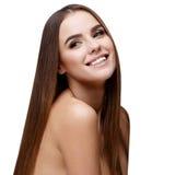 有干净的新鲜的皮肤的美丽的少妇 库存图片