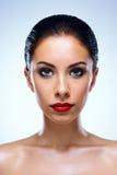 有干净的皮肤的美丽的妇女 免版税图库摄影