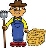 有干草叉和干草动画片的农夫 免版税图库摄影