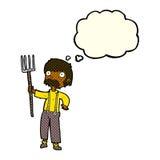 有干草叉的动画片农夫有想法泡影的 图库摄影