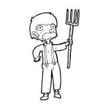 有干草叉的动画片农夫 免版税库存照片