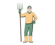 有干草叉的动画片农夫 免版税库存图片