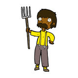 有干草叉的可笑的动画片农夫 免版税库存图片
