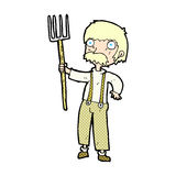 有干草叉的可笑的动画片农夫 库存图片