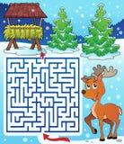 有干草机架和驯鹿的迷宫3 免版税库存图片