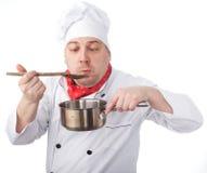 有平底锅的厨师 免版税库存照片