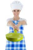 有平底锅的妇女厨师 免版税库存照片