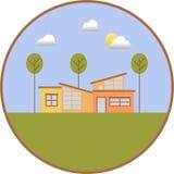 有平的设计的小屋 免版税库存图片