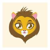 有平的颜色的逗人喜爱的狮子具体化 免版税库存图片