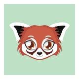 有平的颜色的逗人喜爱的红熊猫具体化 免版税库存图片