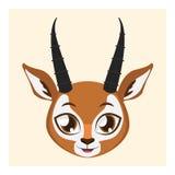 有平的颜色的逗人喜爱的羚羊具体化 免版税库存图片