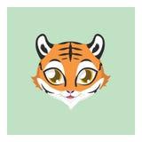 有平的颜色的逗人喜爱的老虎具体化 免版税库存照片