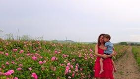 有年轻儿子的妈妈开花的玫瑰园 股票录像