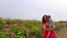 有年轻儿子的妈妈开花的玫瑰园 股票视频