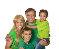 有幼儿的愉快的家庭白色背景的 免版税库存照片