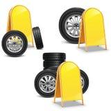 有广告牌的传染媒介轮胎 免版税库存照片