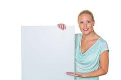 有广告牌的妇女 免版税库存图片