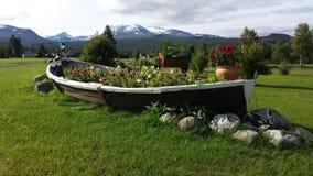 有庄严不同的花的美丽的老木小船花圃有多雪的山背景 库存图片