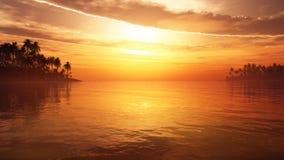 有庄严云彩的热带幻想天堂 库存图片