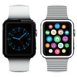 有应用象的现代巧妙的手表在屏幕上 库存图片