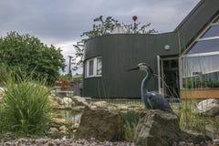 有庭院池塘的家庭房子 免版税库存照片