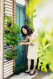 有庭院的逗人喜爱的亚洲妇女花匠采掘工厂剪  免版税图库摄影