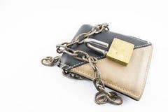 有开放挂锁的钱包 图库摄影