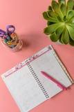有开放日历和多汁植物的顶视图书桌 库存照片