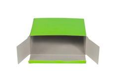 有开放的盒盖的绿色箱子或绿皮书在W隔绝的包裹箱子 库存照片