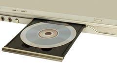 有开放盘盘子被采取的特写镜头的DVD机在白色, 免版税图库摄影